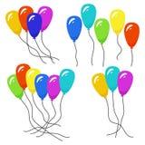 Wiązki kilka colour helu balony ilustracja wektor