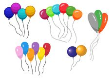 Wiązki kilka colour helu balony royalty ilustracja