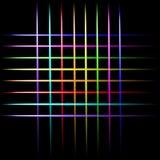 Wiązki laserowej neonowy skrzyżowanie wykłada, kolorowych świateł wektorowy czarny tło Zdjęcia Stock