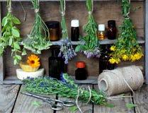 Wiązki leczniczy ziele mennica, krwawnik, lawenda, koniczyna, hizop, milfoil, moździerz z kwiatami calendula i butelki -, Obrazy Stock