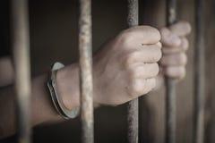 Więźnia chwyt stalowa klatka w komórce, więźniach i milicyjnym pojęciu, obraz stock