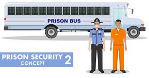 Więźniarski ochrony pojęcie Szczegółowa ilustracja więźniarski autobus, policja strażnik i więzień na białym tle w mieszkaniu, ilustracja wektor
