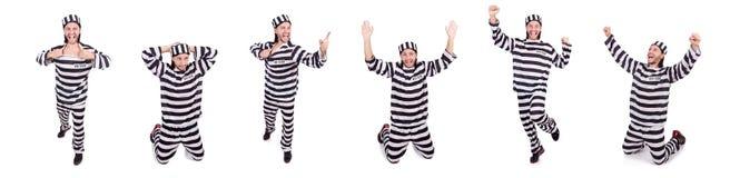 Więźniarski więzień odizolowywający na białym tle Zdjęcie Stock