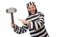 Więźniarski więzień z młotem odizolowywającym na bielu Zdjęcie Royalty Free