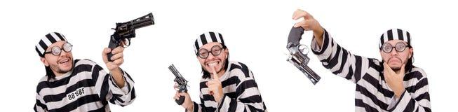 Więźniarski więzień z pistoletem odizolowywającym na bielu Fotografia Royalty Free