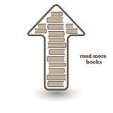 Więcej rezerwuje płocha, ikona z książkami up i strzała, Zdjęcia Royalty Free
