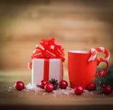 więcej toreb, Świąt oszronieją Klaus Santa niebo Boże Narodzenia napadać na kogoś i prezent na Bożenarodzeniowym backgro Obrazy Stock