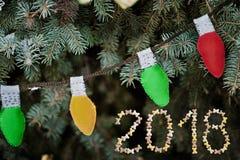 więcej toreb, Świąt oszronieją Klaus Santa niebo Girlanda żarówki Zdjęcie Royalty Free