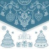 więcej toreb, Świąt oszronieją Klaus Santa niebo Joyeux Noel dekoruje ilustracja wektor