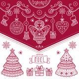 więcej toreb, Świąt oszronieją Klaus Santa niebo Joyeux Noel dekoruje royalty ilustracja