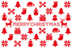 więcej toreb, Świąt oszronieją Klaus Santa niebo północne deseniowe ikony Zdjęcia Royalty Free