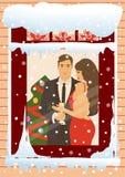 więcej toreb, Świąt oszronieją Klaus Santa niebo Para Obrazy Royalty Free