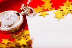 więcej toreb, Świąt oszronieją Klaus Santa niebo tło z zegarem i dekoracjami Makro- Fotografia Royalty Free