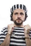 Więziący, Desperacki, portret mężczyzna więzień w więźniarskich dziąsłach Zdjęcia Royalty Free