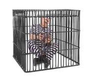 Więzień ono zmaga się z balowym i łańcuchem Zdjęcia Royalty Free