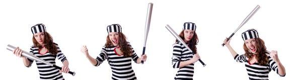 Więzień przestępca w pasiastym mundurze Obrazy Royalty Free