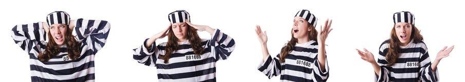 Więzień przestępca w pasiastym mundurze Zdjęcie Royalty Free