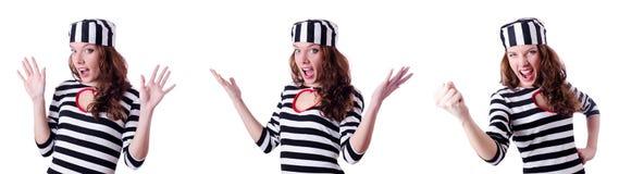 Więzień przestępca w pasiastym mundurze Fotografia Royalty Free