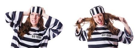 Więzień przestępca w pasiastym mundurze Zdjęcie Stock