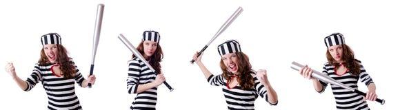 Więzień przestępca w pasiastym mundurze Zdjęcia Royalty Free