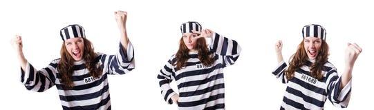 Więzień przestępca w pasiastym mundurze Fotografia Stock