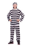 Więzień przestępca w pasiastym mundurze odizolowywającym dalej Obraz Stock