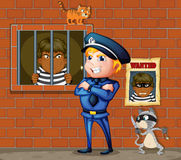 Więzień przy więzieniem i policjant ilustracja wektor