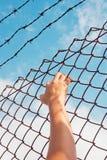 Więzień ręka trzyma stalowego pręt Fotografia Stock