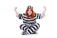 Więzień w pasiastym mundurze Zdjęcie Stock