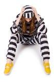 Więzień w pasiastym mundurze Fotografia Royalty Free