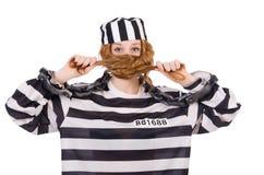 Więzień w pasiastym mundurze Zdjęcia Royalty Free