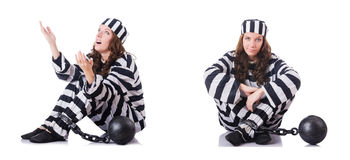 Więzień w pasiastym mundurze na bielu Obraz Royalty Free