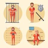 więzienie Przestępca w mundurze obcy kreskówki kota ucieczek ilustraci dachu wektor royalty ilustracja