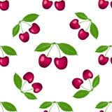 Wiśni dwa jagody z liścia bezszwowym wzorem odizolowywającym na białym tle również zwrócić corel ilustracji wektora obraz royalty free