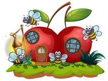 Wiśnia domu i wiele pszczół latać ilustracja wektor