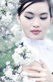 wiśnia kwitnie kobiet potomstwa Zdjęcia Royalty Free