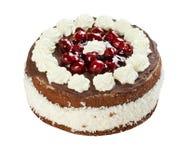 Wiśnia tort odizolowywający na bielu zdjęcie royalty free
