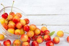 Wiśnia Wiśnie w pucharze Świeża żółta wiśnia Wiśnia na białym drewnianym tle pojęcia zdrowe jedzenie Fotografia Stock