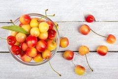 Wiśnia Wiśnie w pucharze Świeża żółta wiśnia Wiśnia na białym drewnianym tle pojęcia zdrowe jedzenie Obraz Royalty Free