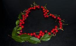 Wiśnie które kłaść w postaci serca, piękny romantyczny obrazy stock