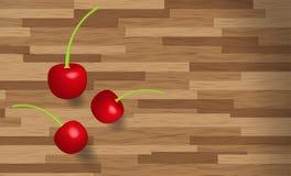 Wiśnie owocowe na drewnianym stołowym tle Zdjęcie Royalty Free