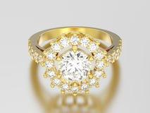 wi кольца с бриллиантом пасьянса желтого золота иллюстрации 3D декоративные Стоковая Фотография