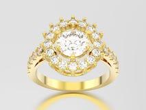 wi кольца с бриллиантом пасьянса желтого золота иллюстрации 3D декоративные Стоковые Изображения