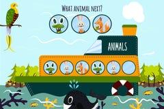 动画片教育的传染媒介例证在一条小船将继续五颜六色的动物逻辑系列在wi中的海洋 免版税库存图片