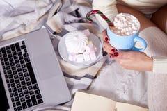 Wi calientes dulces del cacao de la Feliz Navidad de la mañana de la bebida hermosa de la mujer Fotos de archivo