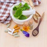WI de fines herbes de soins de santé alternatifs, secs et de fines herbes frais de capsule Images libres de droits