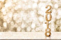 Wi di legno della tavola del marmo del renderingon di numero 3d del buon anno 2018 Immagine Stock