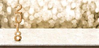 Wi för tabell för marmor för renderingon för nummer 3d för lyckligt nytt år 2018 wood Royaltyfria Bilder