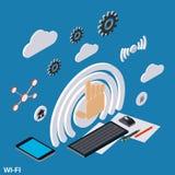 Wi-Fi平的3d等量传染媒介概念 免版税库存图片
