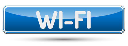 WI-FI - Abstract beautiful button with text. Royalty Free Stock Images